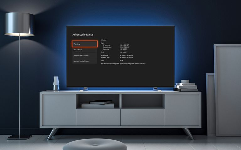 a television showing how to find an xbox one ip address