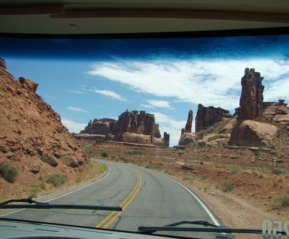 RV travel offers beautiful views from the windshield.