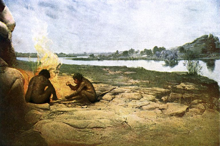 Artists Reconstruction of Hominids Making the First Stone Tools