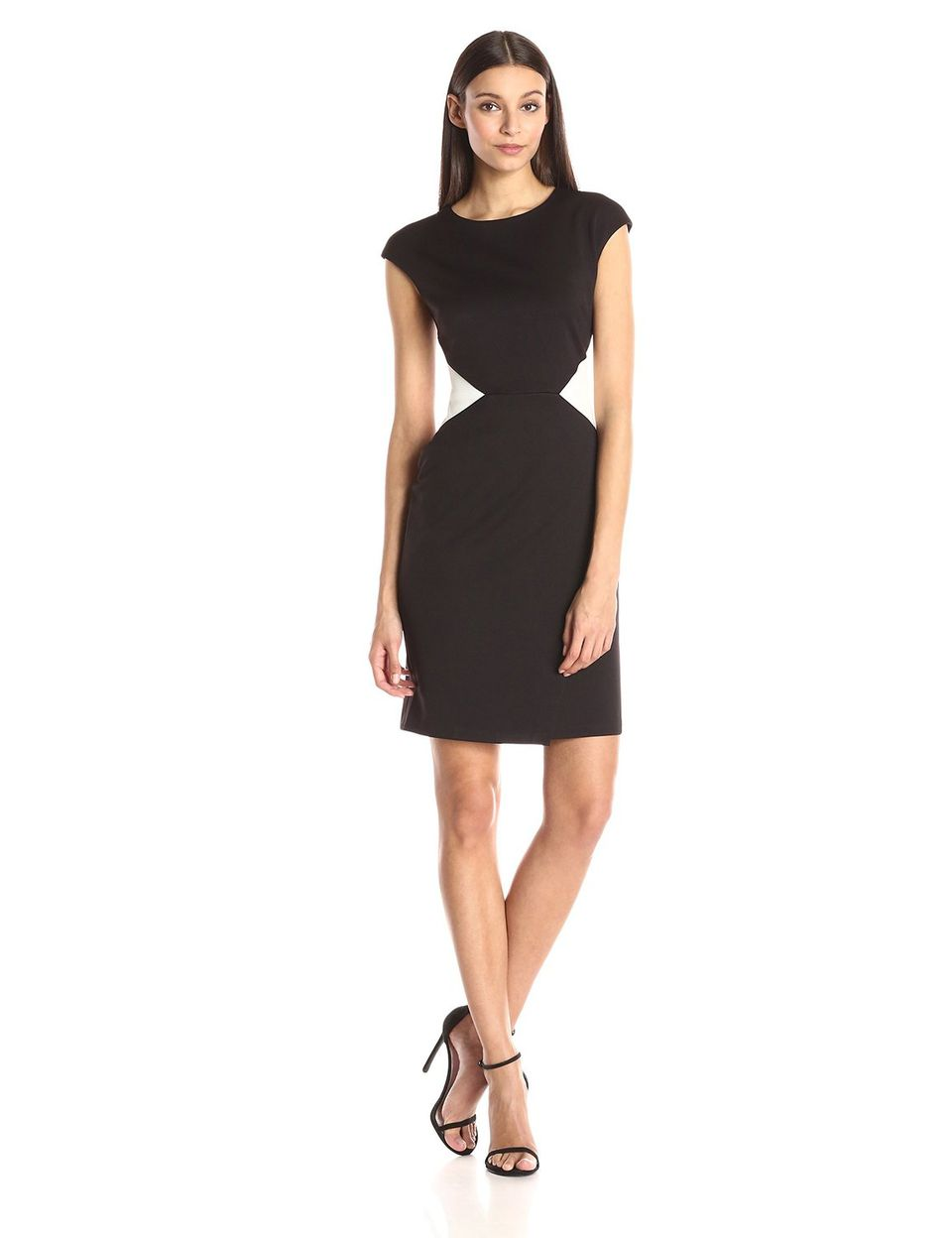 Maggy London Solid Scuba Color Block Sheath Dress