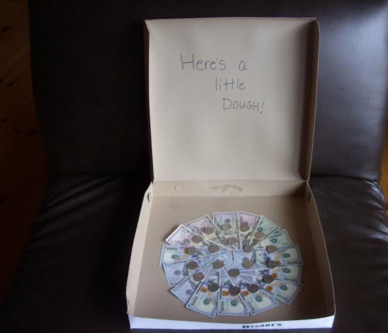 This pizza money gift is a fun way to give your teen some dough.