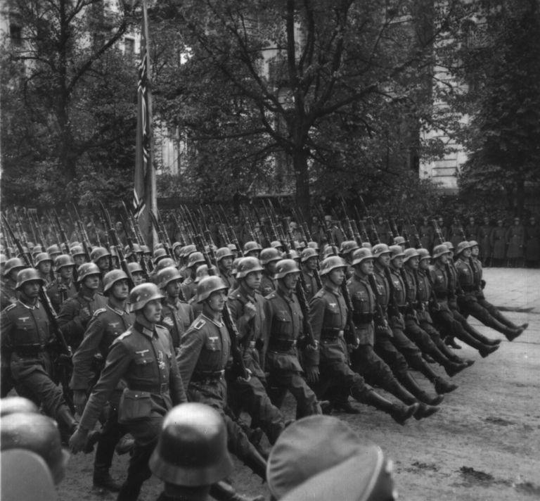 German troops paragde through Warsaw after invading Poland in September 1939.