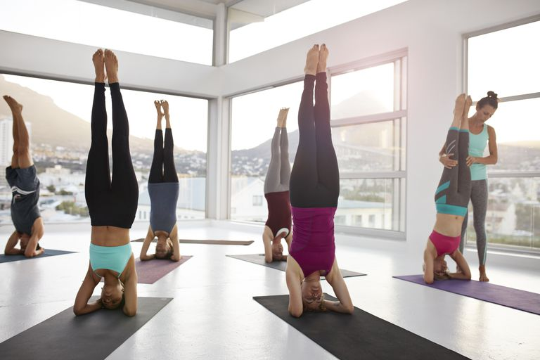 Yoga Class in Headstand