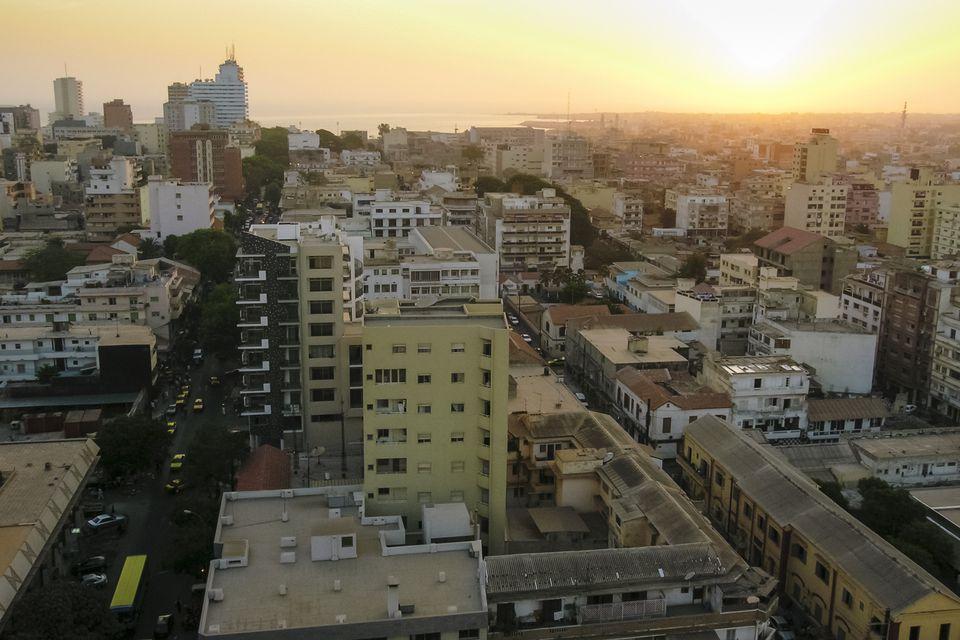 Dakar city center overview at sunset