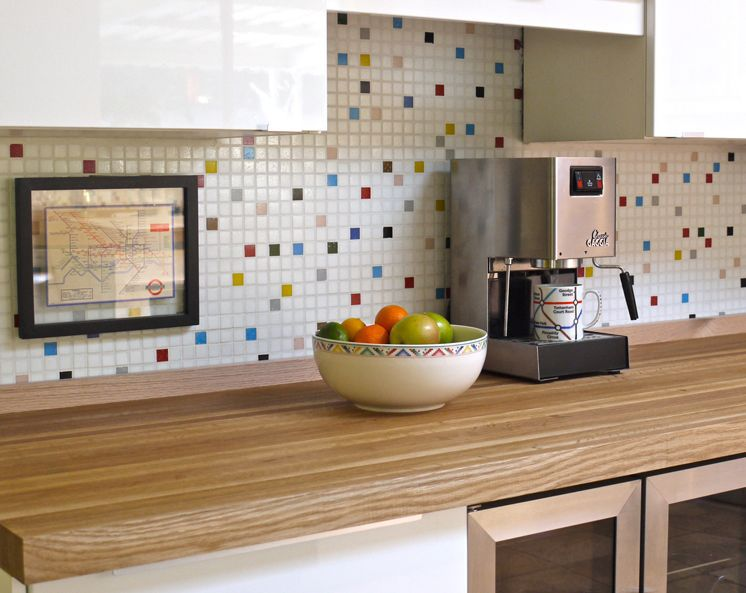 Bright and Colorful Mosaic Tile Kitchen Backsplash