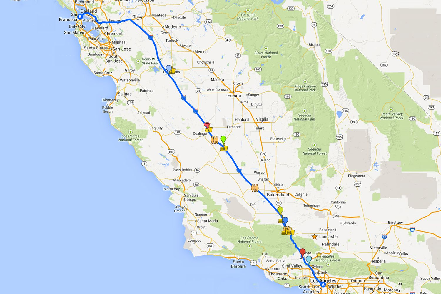Driving From LA To San Francisco On I Highway - South california map