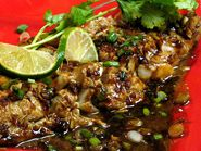 Talapia with Tamarind Sauce and Spring Onion