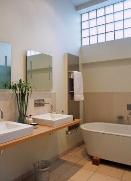 Bathroom with Cathedral Ceiling and Cantilever Sink