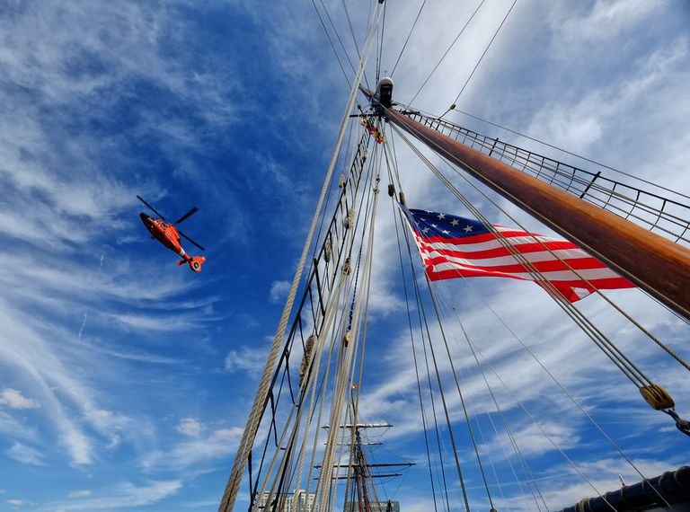 Coast Guard Helicopter and Tall Ship