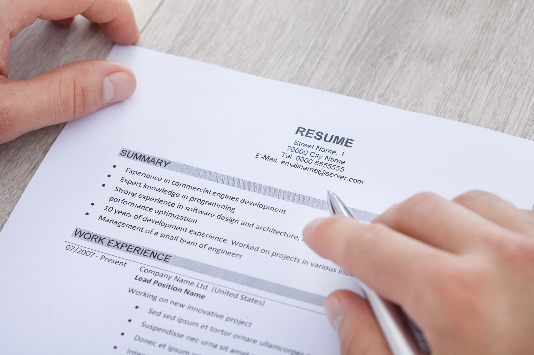 resumes profile vs objective