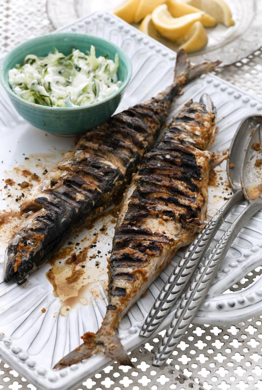 Grilled spiced mackerel with cucumber raita