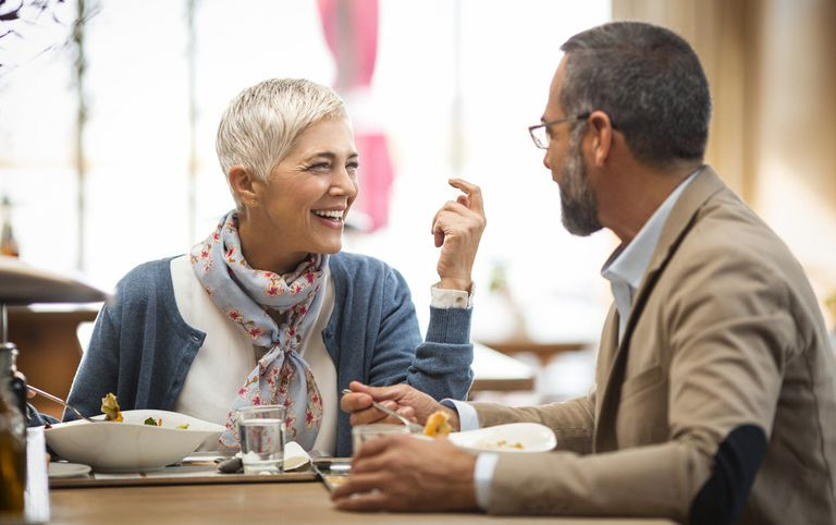 Man and woman having a lunch date at a restaurant.