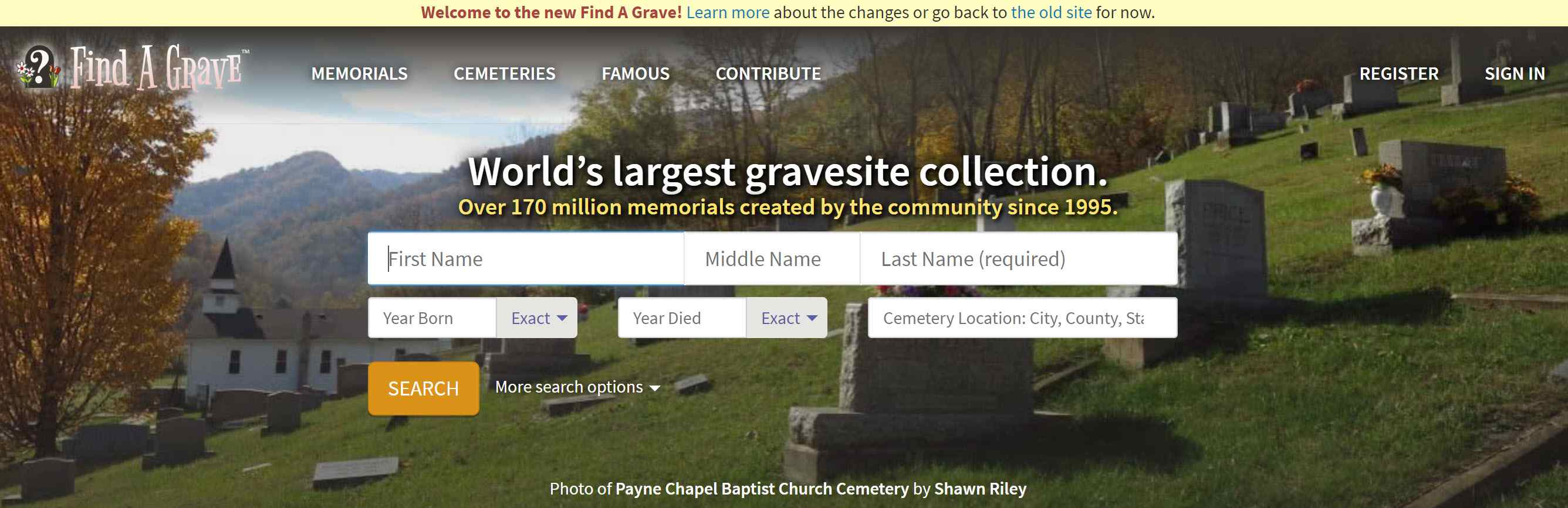 Screenshot of the Find A Grave website.