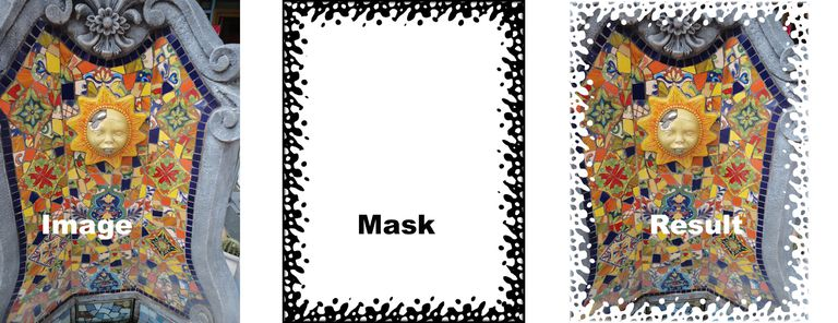 Image shows the original image, the mask applied to the image and the resulting effect.