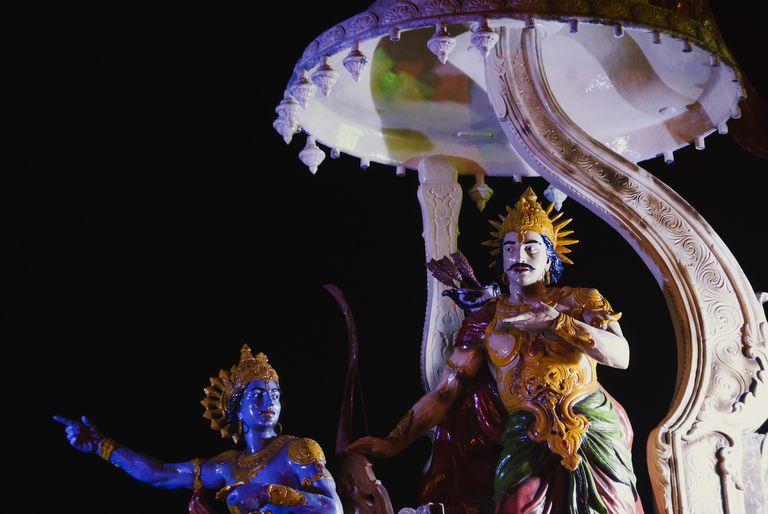 Sculptures of a chariot of lord Krishna and Arjuna at the entrance of Ganga ghat, Muni Ki Reti, Rishikesh, Dehradun District, Uttarakhand, India