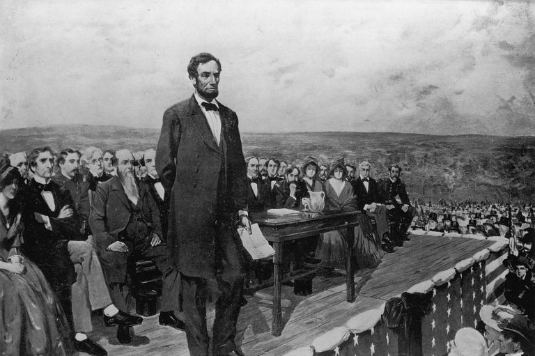 Artist's depiction of Lincoln's Gettysburg Address