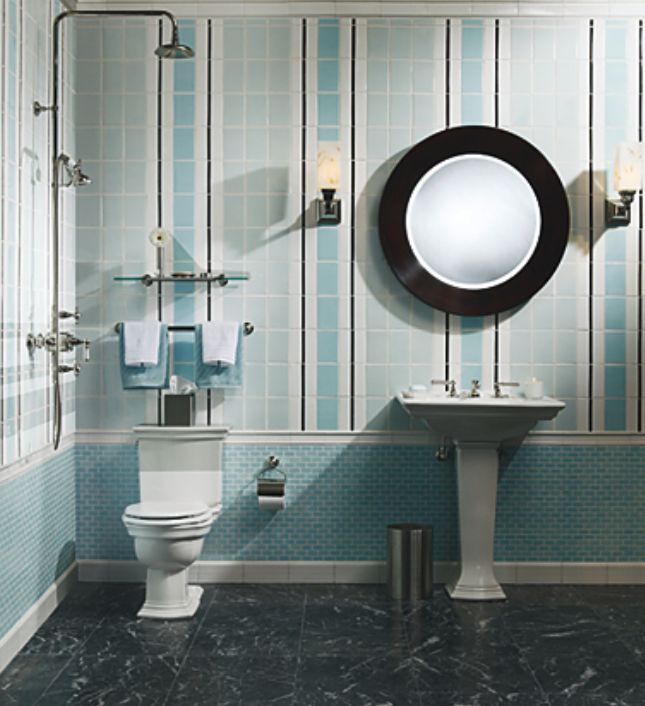 bathroom decorated in blue and white with kohler fixtures