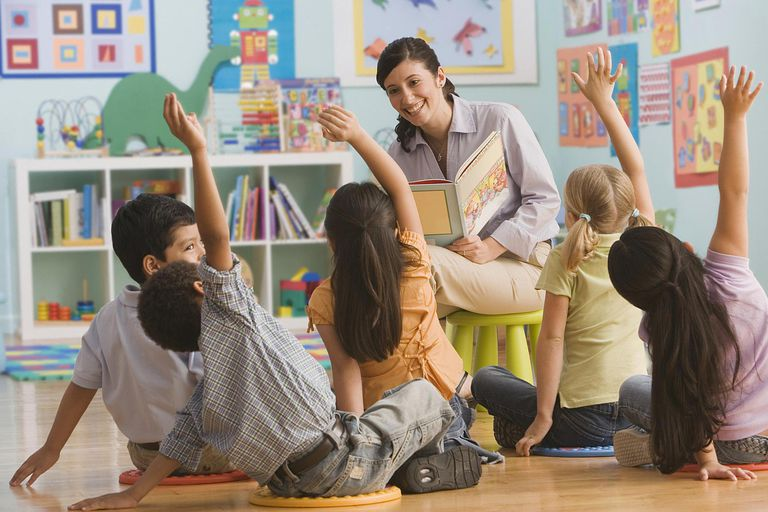 Teacher reading book in classroom, children (2-7) raising hands