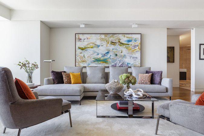 modern gray living room with bold artwork