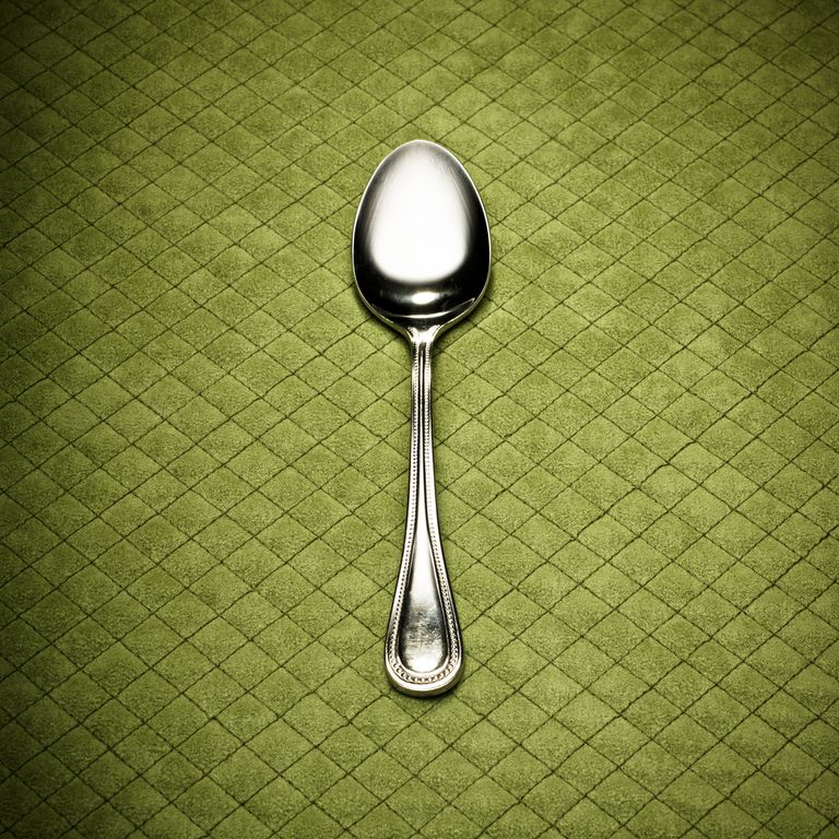 Spoon on green background