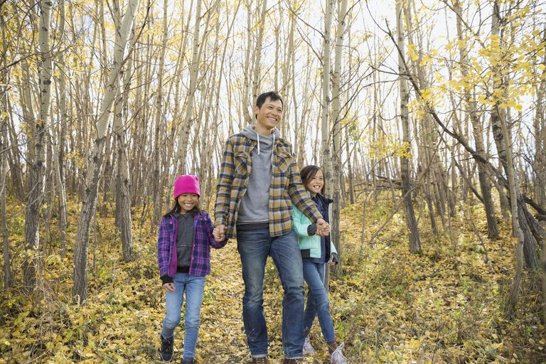 Fall family fitness idea: Walking in the woods