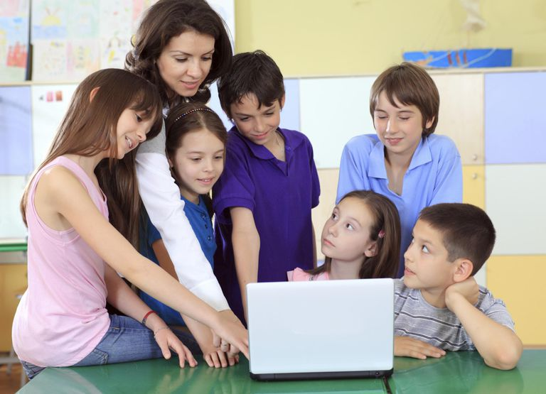 Teacher, Students, and a Laptop