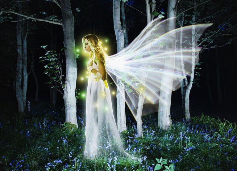 angel at night forest aura