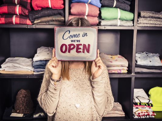 Business Opening with Open Sign