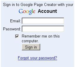 Google Page Creator Sign In
