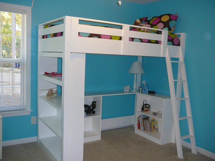 Ana White's Free Loft Bed Plan With a Small Bookcase and Desk