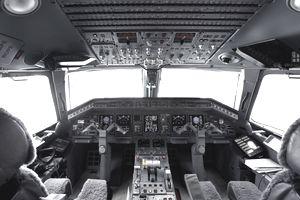 Cockpit of jet