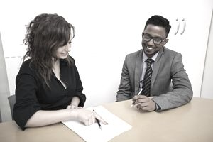 young business colleagues at desk