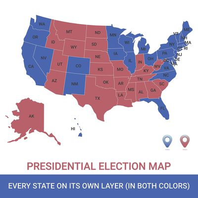 Thematic Maps In Geography Overview - Color temperature us voting map
