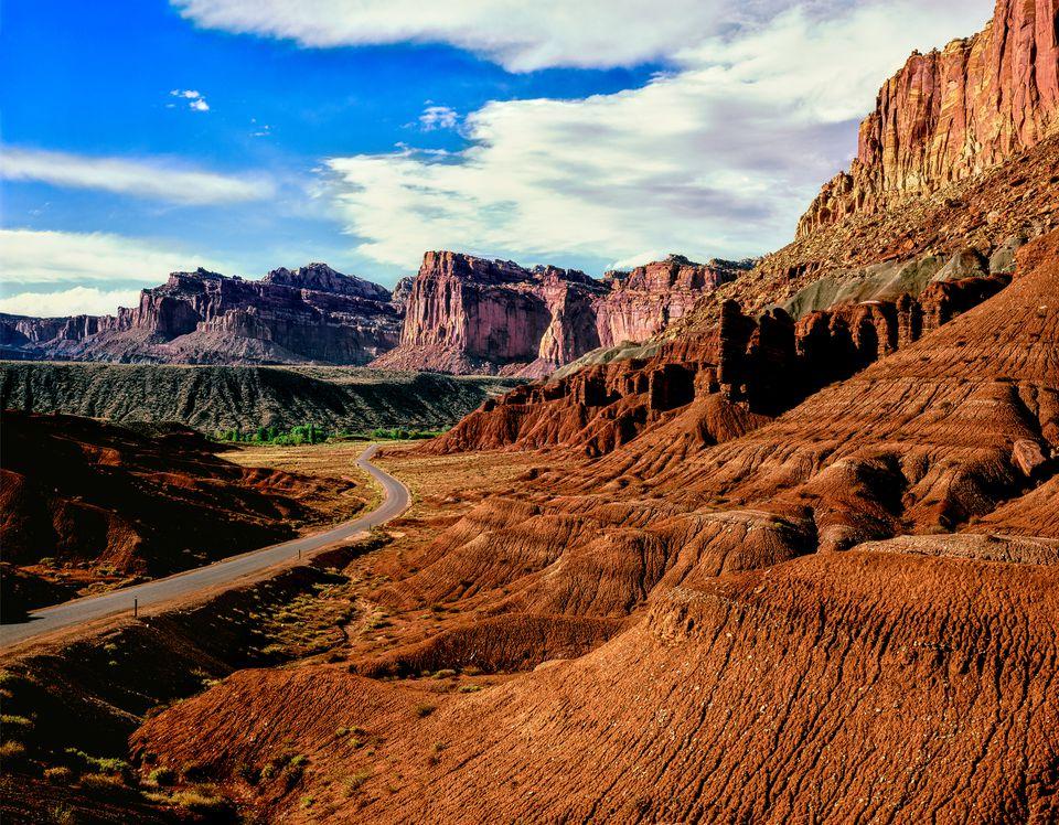 Road passing through rocky desert, Capitol Reef National Park, Utah, USA