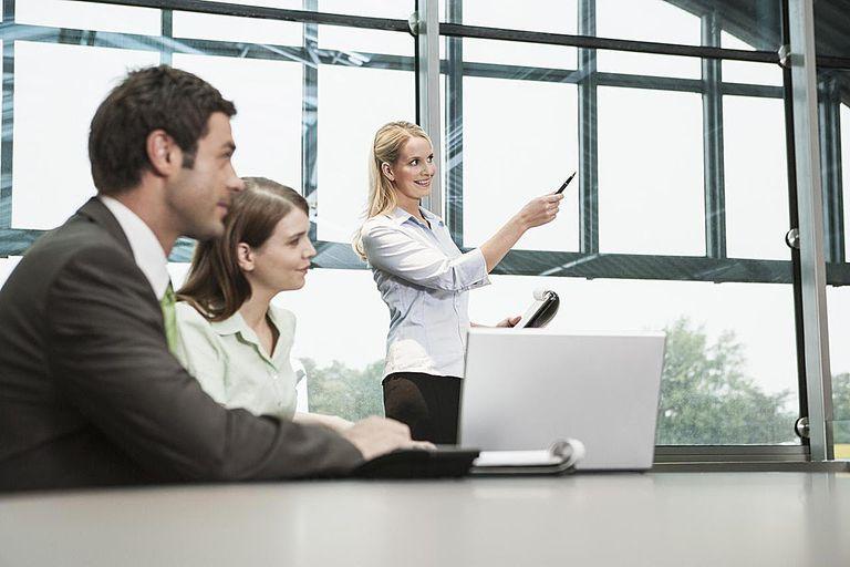 Businesswoman displaying presentation in meeting