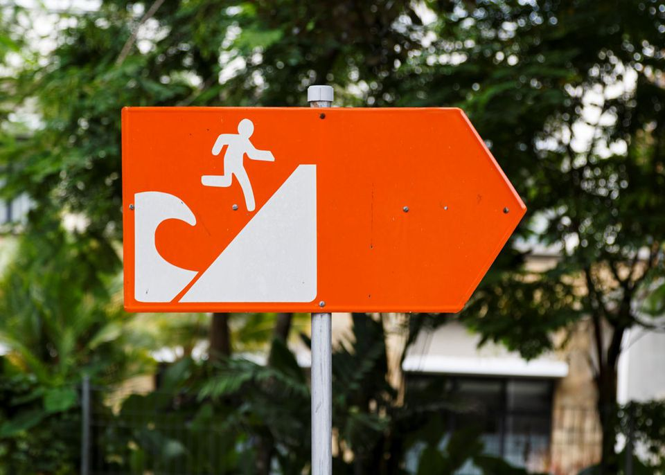 Tsunami evacuation directional sign in Bali, Indonesia