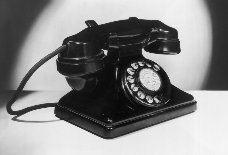 2nd August 1951: A British telephone handset with dial.