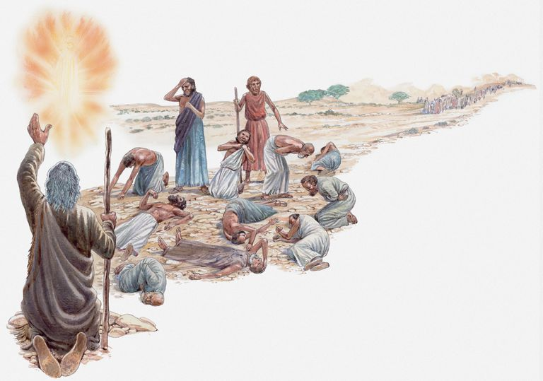 Illustration of Moses talking to God after Israelites have rejected the Promised Land, men struck dead on ground, only Joshua and Caleb are spared, Book of Numbers