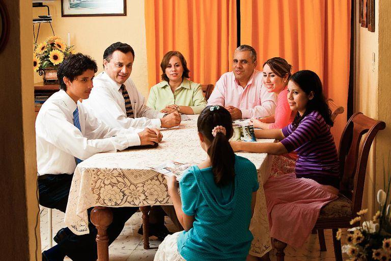 Home Teachers visiting an LDS family