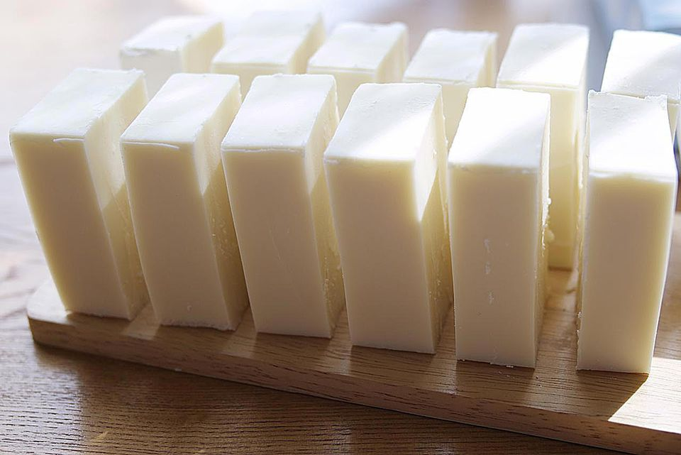 multiple bars of simple old fashioned hard white soap