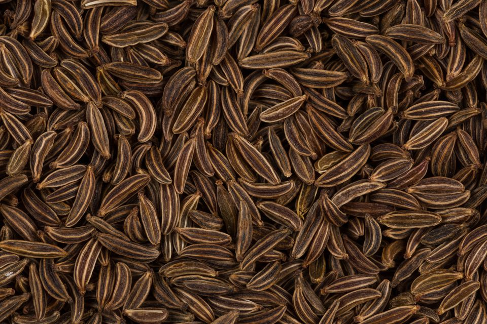 Pile of dry caraway seeds