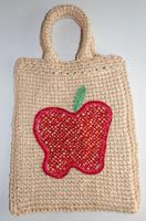 Afghan Stitch Purse With Beaded Crochet Apple Motif