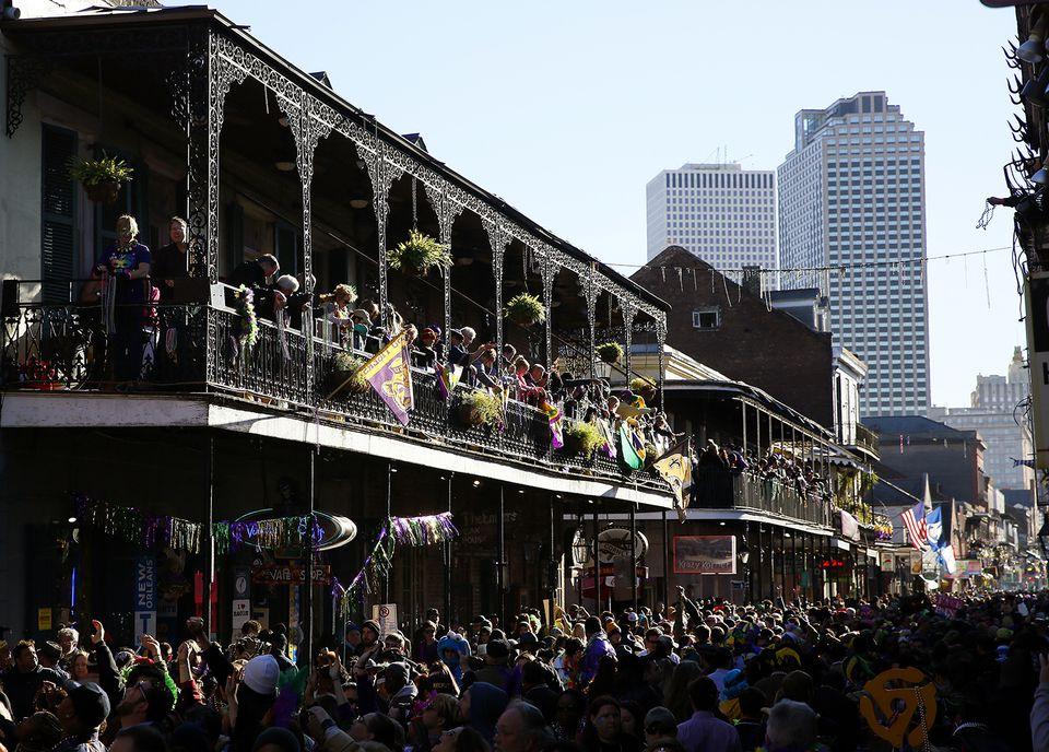 Revelers pack Bourbon Street during Mardi Gras.