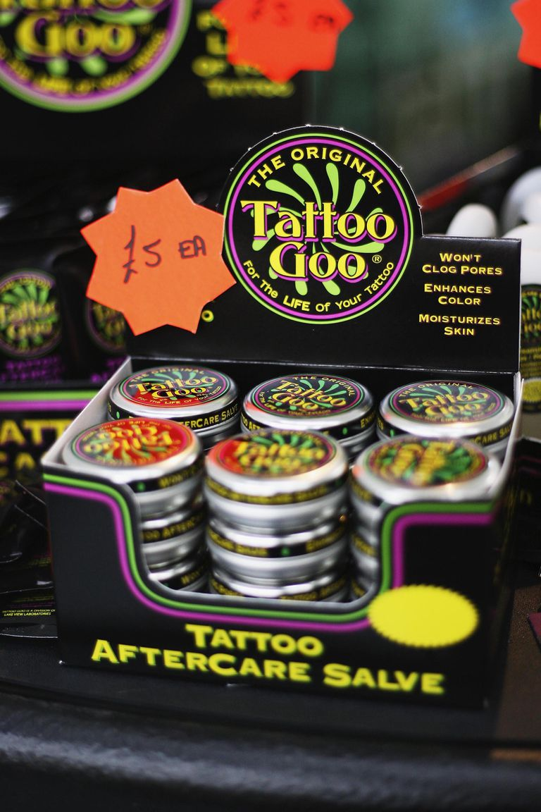 Tattoo aftercare salve is sold at the second British international tattoo event