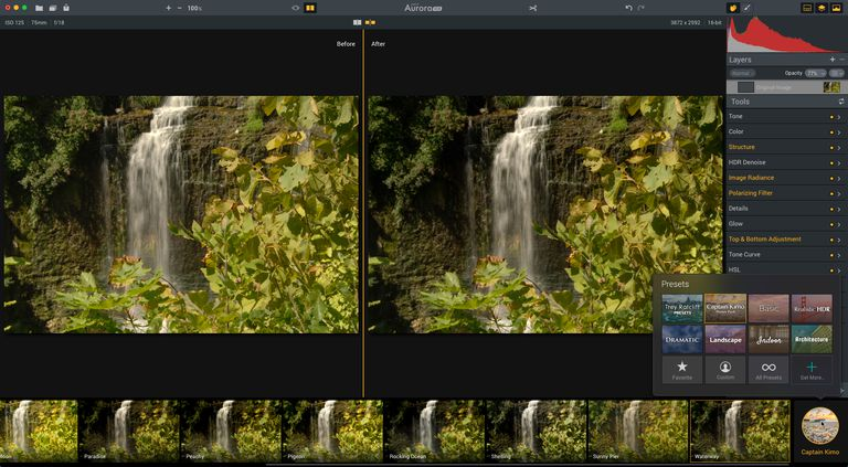 Image shows the Before and After split view and the Captain Kimo Waterway preset is selected.