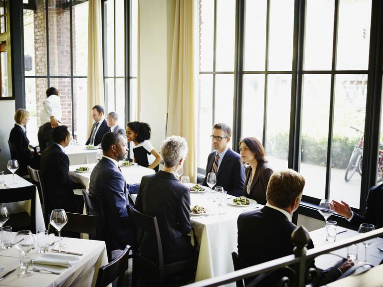 Business people having lunch in a restaurant