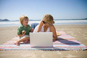 Computer at beach vacation