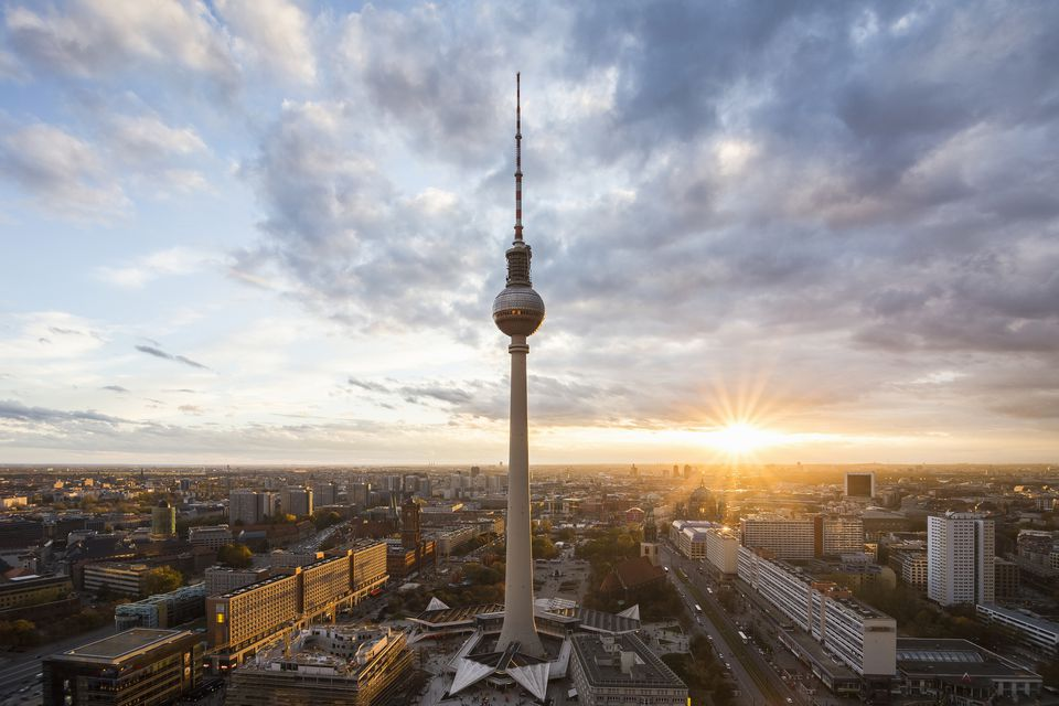 Berlin skyline at sunset