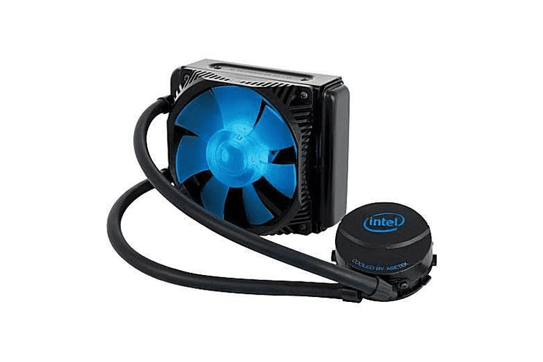 Picture of a blue and black Intel cooling fan