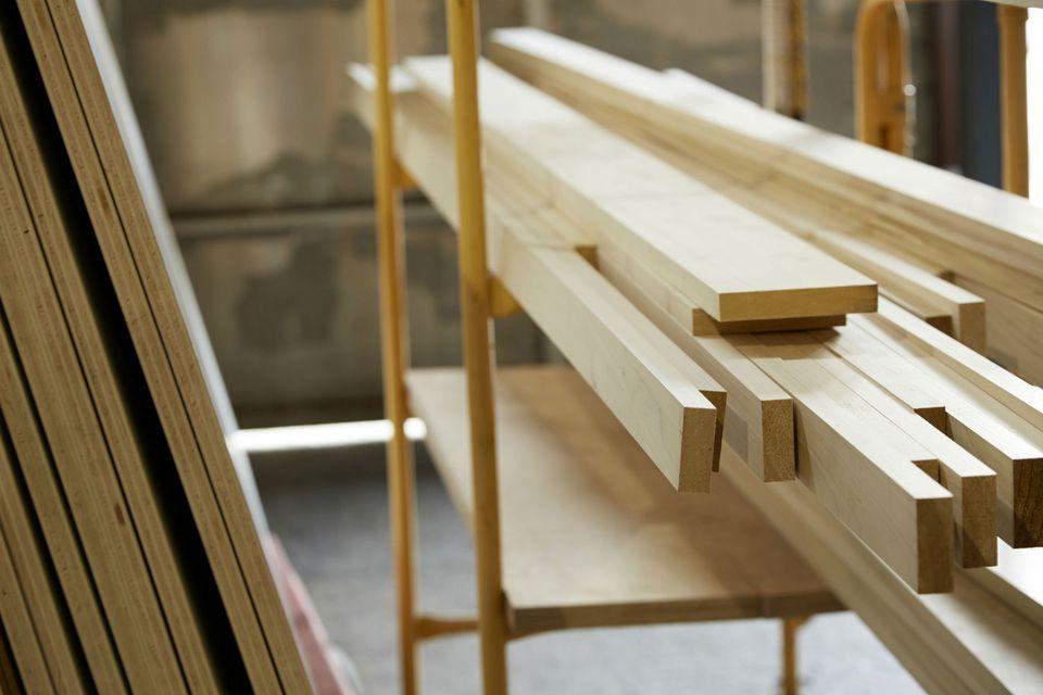 Planks of wood in workshop
